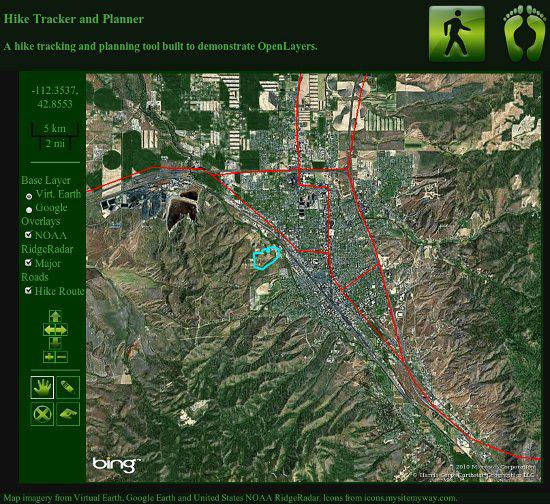 示例应用程序的屏幕快照,左边显示了具有交互选项的一个菜单,右边显示了具有彩色路径叠加的一个卫星地图